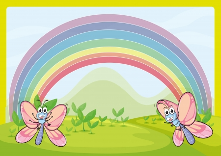 Illustration of flies and rainbow in green nature Vector