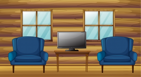 Illustration of a furniture and tv in a room Stock Vector - 17082656