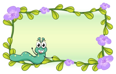 cartoon larva: Illustration of a caterpillar and a flower plant on a white background