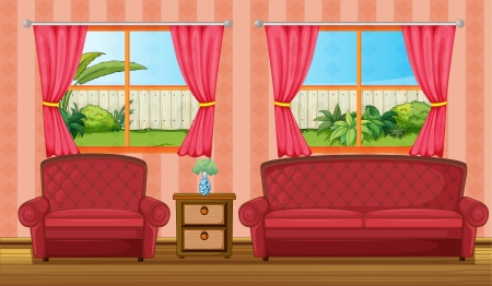 sofa set: Illustration of a red sofaset and side table in a room