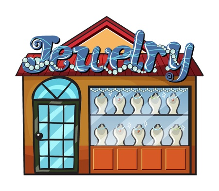 retail display: Illustration of a jewelry shop on a white background