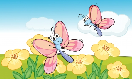 Illustration of a flying butterflies in beautiful nature Stock Vector - 17082591