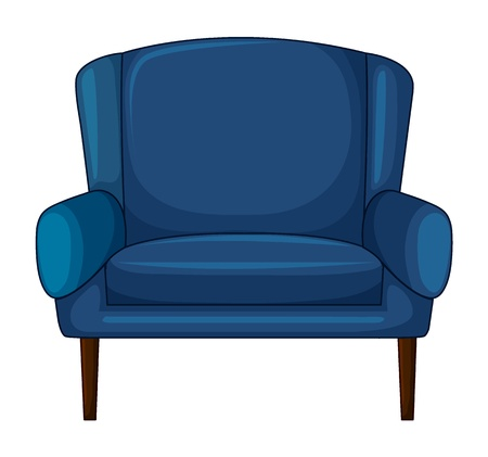 Illustration of a blue cushion chair on a white background Stock Vector - 17082477