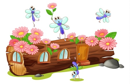 Illustration of flies and a wood house on a white background Vector