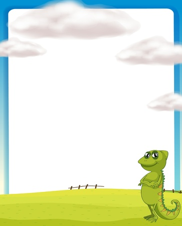 Illustration of crocodile and white board in nature Vector