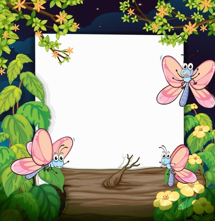 Illustration of butterflies and white board in green nature Stock Vector - 17082701