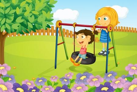 patio escuela: Ilustraci�n de ni�os jugando en el jard�n columpio
