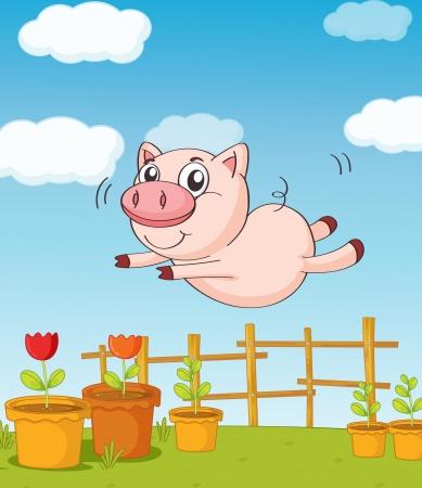 cerdo caricatura: Ilustración de un salto de gato por la hermosa naturaleza