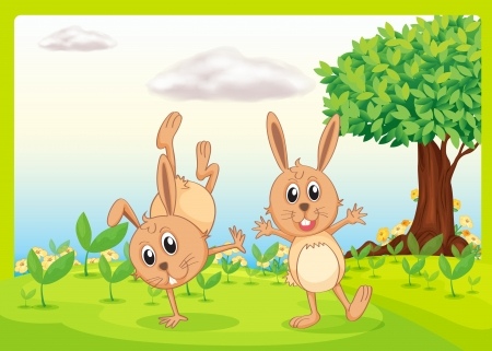 Illustration of dacing rabbits in a beautiful nature Stock Vector - 17082664