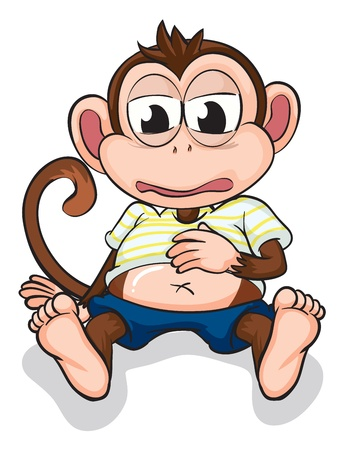 Illustration of a monkey on a white background Vector
