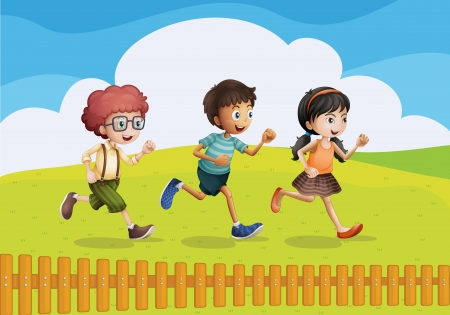 Illustration of kids running in a beautiful nature