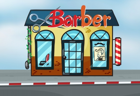hair dresser: Illustration of barber shop on road