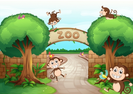 Illustration of monkeys in zoo and a green nature
