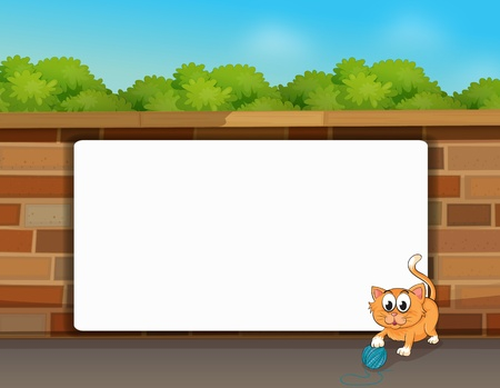 Illustration of a cat and a white board in a beautiful nature Vector