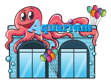 fish store: Illustration of an aquarium and octopus on white