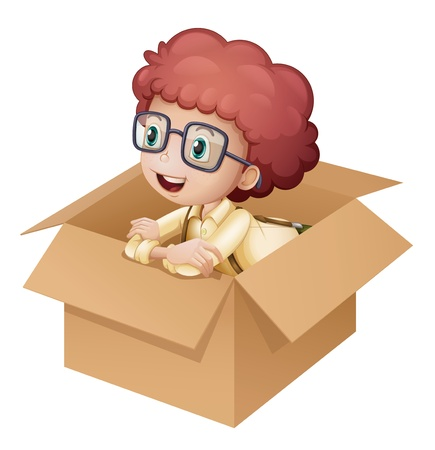 Illustration of a girl in a box on white background Vector