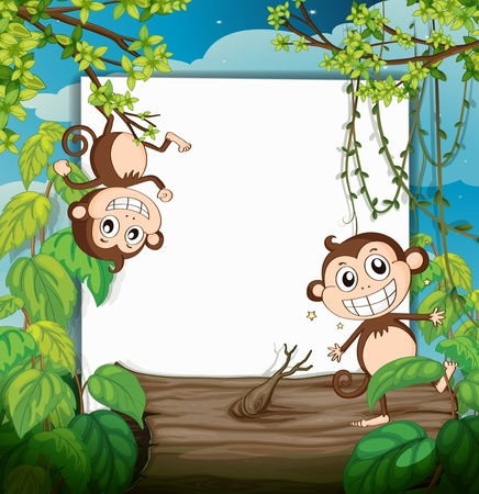 monkey cartoon: Illustration of monkeys and white board in nature Illustration
