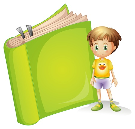 Illustration of a boy and a book on a white background Vector