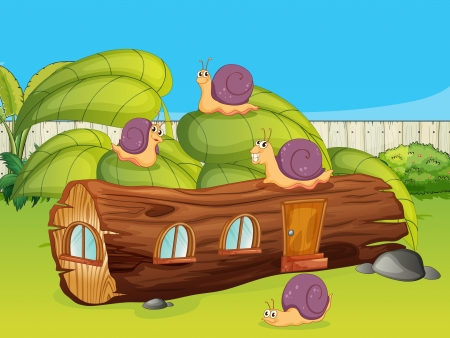 Illustration of snails and a wood house in a green nature Vector