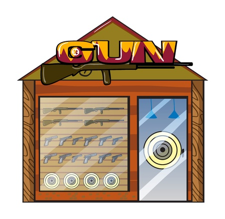 Illustration of a gun shop on a white background Stock Vector - 17082564