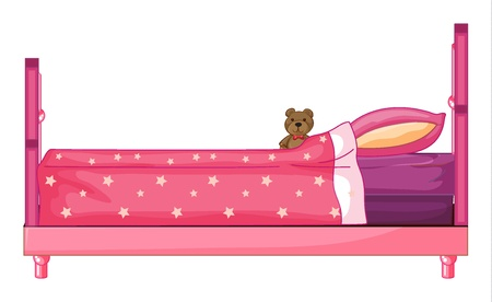 Illustration of a pink bed on a white background Vector