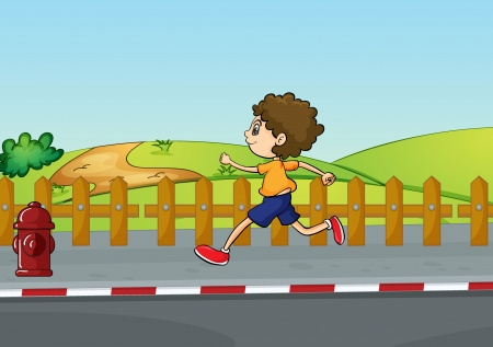 Illustration of a boy running in a beautiful nature Stock Vector - 17100473