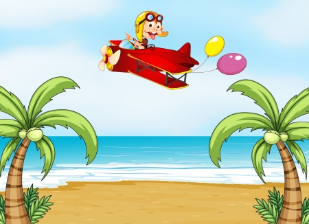 Illustration of a monkey in airplane and  beautiful beach Vector