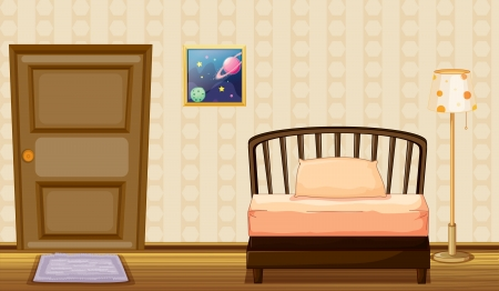Illustration of a bed and a lamp in a room Vector