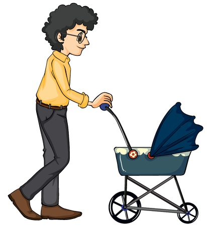 Illustration of a man and baby pram on a white background Illustration