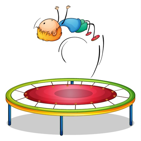 Illustration of a boy playing trampoline on a white background Illustration