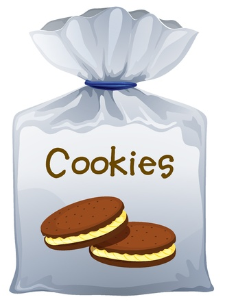 snack cartoon: Illustration of a pouch bag of cookies on a white background Illustration