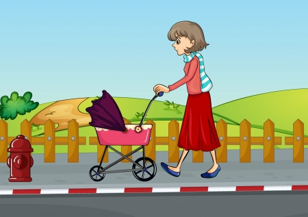 Illustration of a woman and baby pram in a beautiful nature Vector