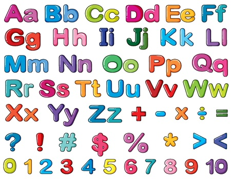 number cartoon: Illustration of alphabets and numbers on a white background