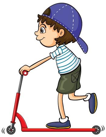 niños jugando: Ilustración de una bicicleta de empuje muchacho que juega sobre un fondo blanco Vectores