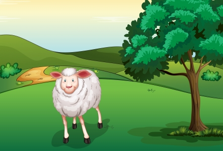 Illustration of a smiling sheep in a beautiful nature Stock Vector - 17100574