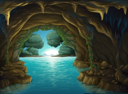 Illustration of a cave and a water in a beautiful nature Vector