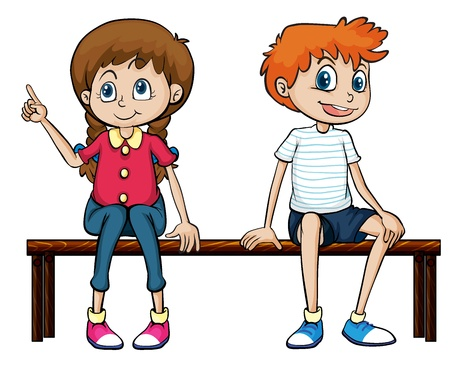 female child: Illustration of a boy and a girl sitting on a bench on a white background