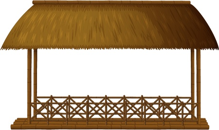 huts: Illustration of a wooden shande on white background