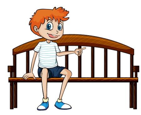 Illustratie van een jongen zittend op een bankje op een witte achtergrond