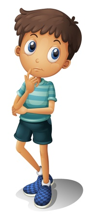 Illustration of a thinking boy on a white background Vector
