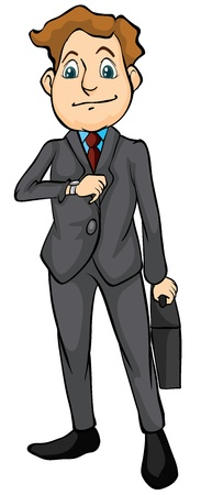 cartoon businessman: Illustration of a smiling man with bag on a white background