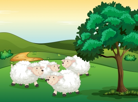 Illustration of sheeps in a beautiful nature Vector