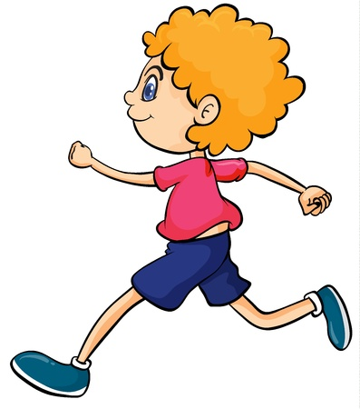Illustration of a boy running on a white background Vector