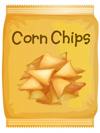 crisp: Illustration of a packet of corn chips on a white background Illustration