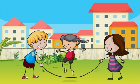 Illustration of kids playing rope in a beautiful nature Vector