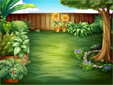 Illustration d'un beau paysage dans une nature Vecteurs