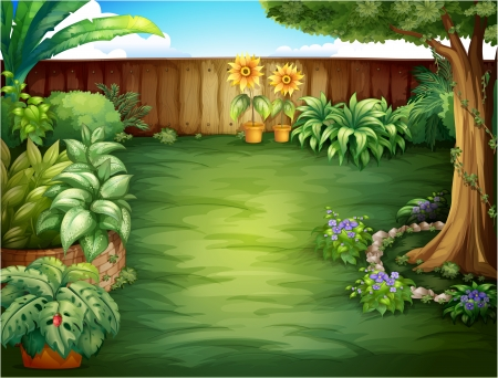 flower vines: Illustration of a beautiful landscape in a nature