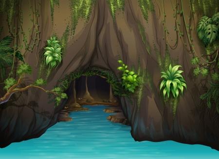 Ilustración de una cueva y el agua en una hermosa naturaleza