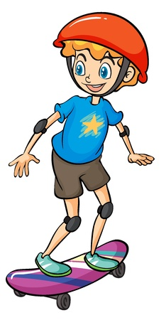Illustration of a boy playing skateboard on a white background Illustration
