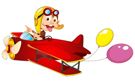 Illustration of a monkey in airplane on a white background Vector
